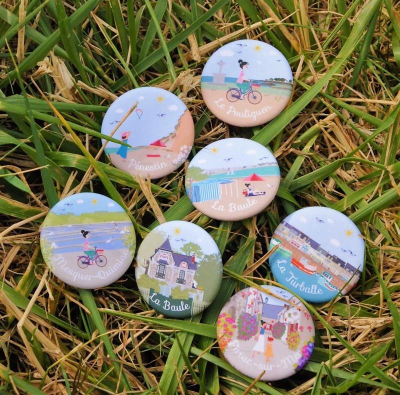 Badges illustratrice graphiste Anne-Louise - Office de Tourisme La Baule Presqu'île de Guérande